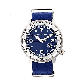Morphic M58 Series Nato Leather-Band Watch w/ Date - Silver/Blue