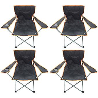 4 Black & Orange Lightweight Folding Camping Beach Captains Chairs