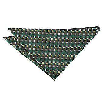 Verde com ouro, prata e Bronze crivos geométricas bolso quadrado