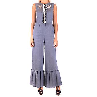 Twin-set Ezbc060152 Women's Blue Linen Jumpsuit