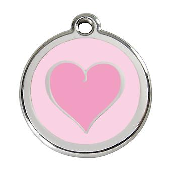 Red Dingo Pet Collar Identification Tag - Heart