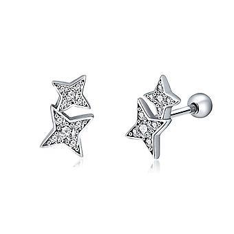 Boucles d'oreilles Femme Etoiles orné de Cristal de Swarovski Blanc et Argent 925 8107