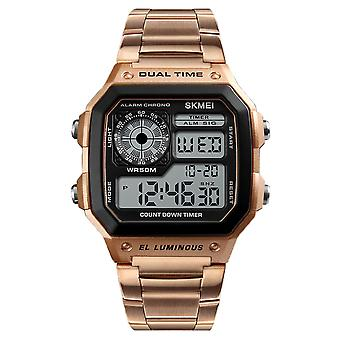 SKMEI Gold Smart Mens Digital Watch Clear Display Stainless Steel Strap Date Alarm Stopwatch DG1335G