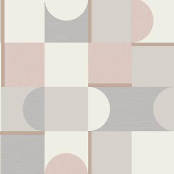 Fine Decor Geometric Blush Grey Silver Metallic Shimmer Retro Wallpaper