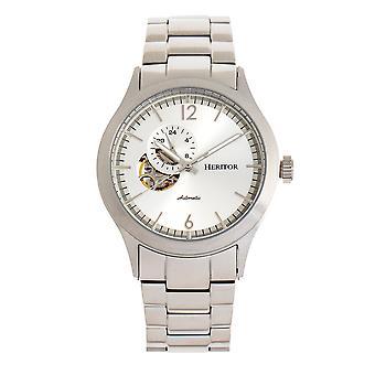 Heritor automático Antoine semi-esqueleto pulseira Watch-prata