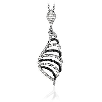 PENDANT WITH CHAIN 925 SILVER BLACK & WHITE ZIRCONIUM
