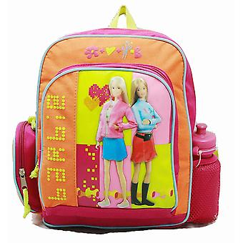 Small Backpack - Barbie - w/ Water Bottle - Flower Rainbow New Bag 15997