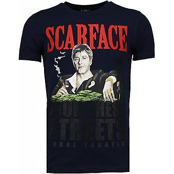 Scarface Boss-tekojalokivi-T-paita-laivastonsininen