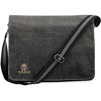 16th 5th The Queens Royal Lancers Colour - Licensed British Army Embroidered Vintage Canvas Despatch Messenger Bag