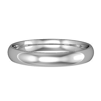 Κοσμήματα του Λονδίνου Platinum 3mm φως δικαστήριο γυαλιστερό δαχτυλίδι δέσμευσης γάμου μπάντα