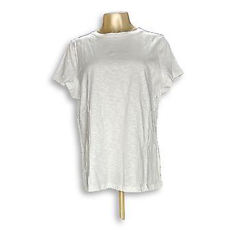 Isaac Mizrahi Live! Kvinder ' s top true denim slub Strik hvid A274610