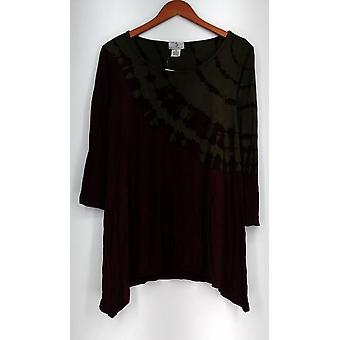 OSO Casuals Elbow Sleeve Asymmetric Hem Knit Top Red Womens A419163