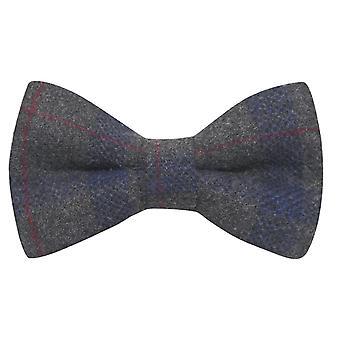 Grigio e Blu Check Bow Tie, Tweed, Tartan, Plaid