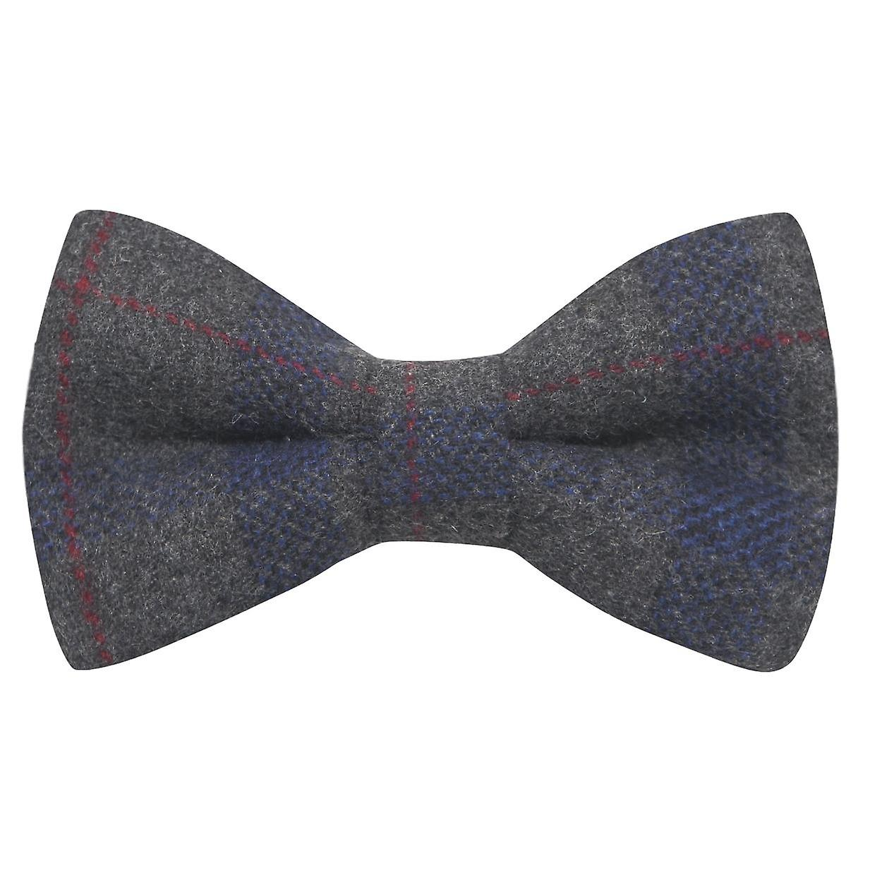 Grey & Blue Check Bow Tie, Tweed, Tartan, Plaid
