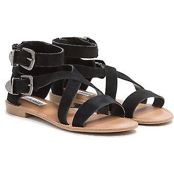 Steve Madden vrouwen ' s mode lage sandalen met gespen zwart nubuck leer