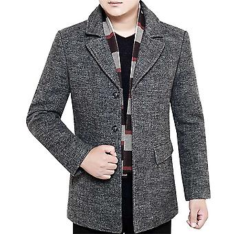Allthemen Men's Thickened Warm Simple Fashion Wool Blend Overcoat