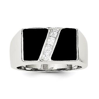 925 Sterling Silver polacco Aperto Indietro Mens Cubic zirconia e Anello Onyx simulato - Dimensione anello: 9 a 11