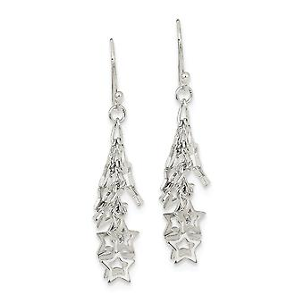 925 Sterling Argent Polished Shepherd crochet Multi Stars Long Drop Dangle Boucles d'oreilles Bijoux Bijoux pour les femmes