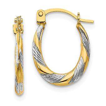 14k Yellow Gold Twisted Textured Polished Hinged post and Rhodium Twist Hoop Earrings Measures 15x10mm Wide 2mm Thick Je