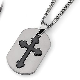 Titanium geborsteld fancy kreeft sluiting zwart verguld beweegbaar religieus geloof kruis ketting 22 inch sieraden geschenken voor wo