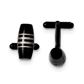 Stainless Steel Polished Black Ip plated Cuff Links Jewelry Gifts for Men