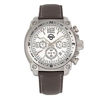 Shield Tesei Chronograph Leather-Band Men's Diver Watch w/Date - Silver/Grey