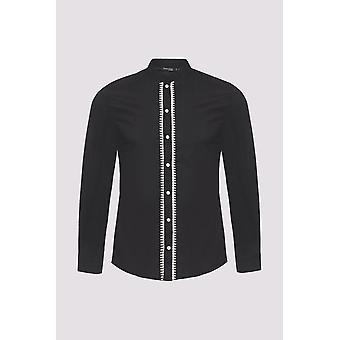 Ayman manga larga stand up cuello hombres's camisa abotonada en negro