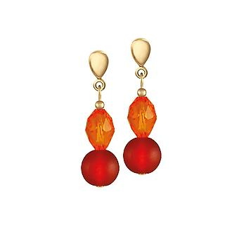 Eternal Collection Thanksgiving Orange Crystal And Glass Drop Clip On Earrings