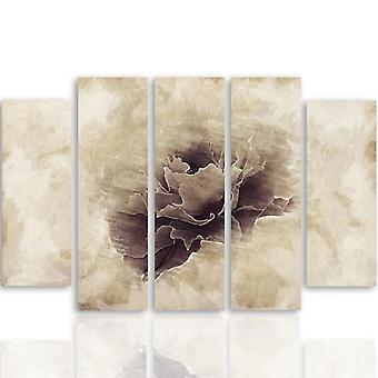 Vijf deel foto op canvas, Pentaptych, type B, grijze bloem