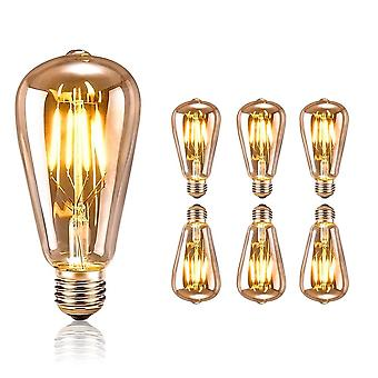 Edison Vintage Light Bulb 6 Pieces - Ideal For Vintage And Retro Lighting In The House Café Bar Party - Set Of 6 Pieces