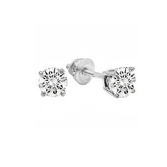 Dazzlingrock Collection 0.50 Carat (Ctw) 14K Round Cut Cubic Zirconia Ladies Stud Earrings 1/2 CT, White Gold