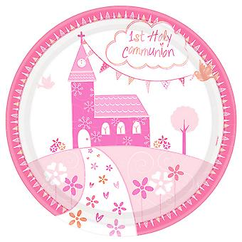 Amscan Communion Church Pink Plates (Pack Of 8)