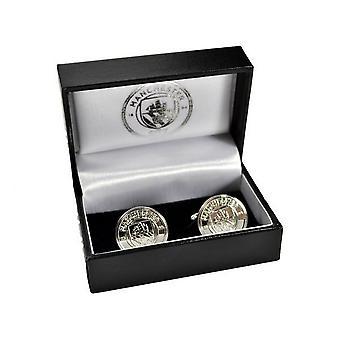 Abotoaduras com caixas de prata da crista de Manchester City FC