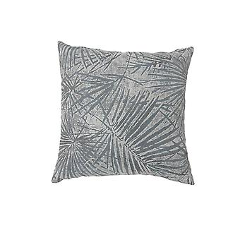 Contemporary Style Palm Leaves Designed Set of 2 Throw Pillows, Gray