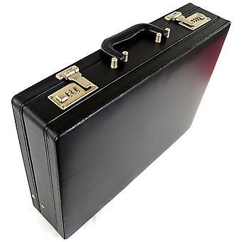 Professional Mens Leather Look esecutivo valigetta nera con serrature a combinazione