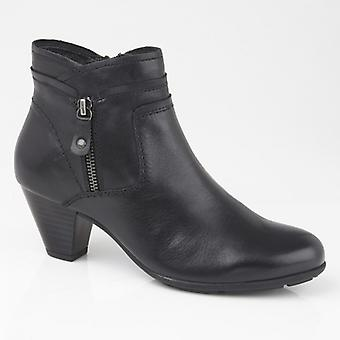 Cipriata Cleo Ladies Leather Side Zip Ankle Boots Black