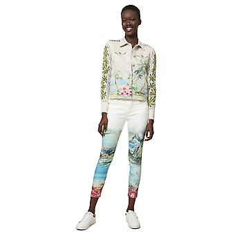 Desigual Women's Tiki White Tropical Beach Print Denim Jacket