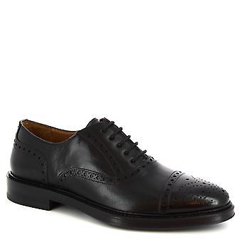 Leonardo Shoes Men's handmade brogues oxford shoes in black calf leather