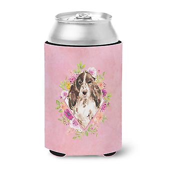 Brown Parti Cocker Spaniel Pink Flowers Can or Bottle Hugger
