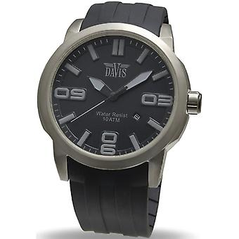 Davis DA1890 - horloge grijs zwarte stalen man