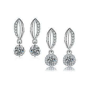 925 Sterling Silver Set Of Two Drop Earrings