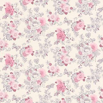 Delicado rosa flor trail fondo de pantalla Rasch Floral Roses jardín corazón mariposa