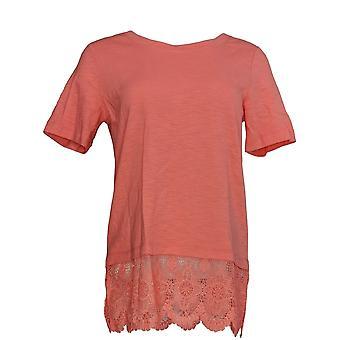 C. Wonder Women's Top Scoop Neck Slub Knit w/ Lace Hem Pink A277345
