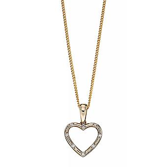 Joshua James Precious 9ct Yellow Gold & Diamond Open Heart Pendant