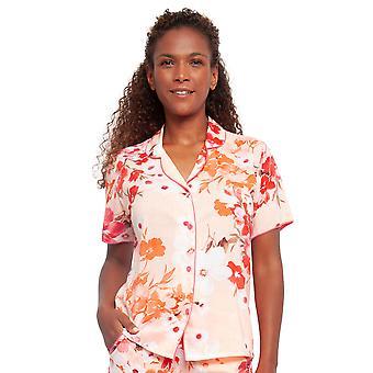 サイバージャミーズ 4424 女性's ダルシーコーラルオレンジフローラルプリントコットンパジャマトップ
