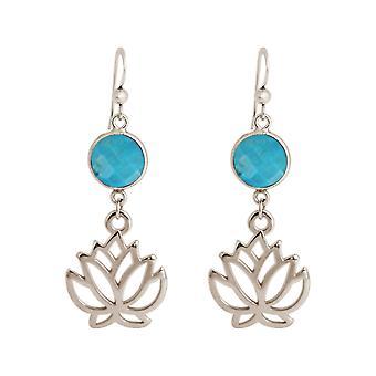 Boucles d'oreilles Gemshine lotus fleurs boucles d'oreilles turquoise en argent
