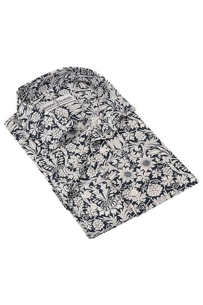 JSS Floral Blue & White Regular Fit 100% Cotton Shirt