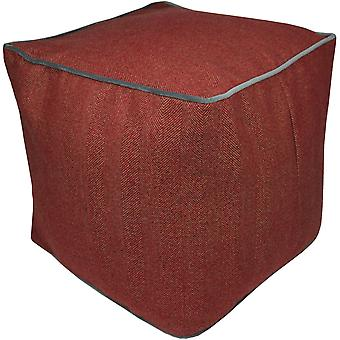 Mcalister textiles deluxe herringbone red ottoman cube stool