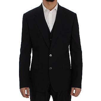 Dolce & Gabbana Blue Wool Stretch Sicilia Blazer