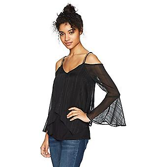 A. Byer Bell Sleeve Cold Shoulder Split Front Top, Black, Size X-Large